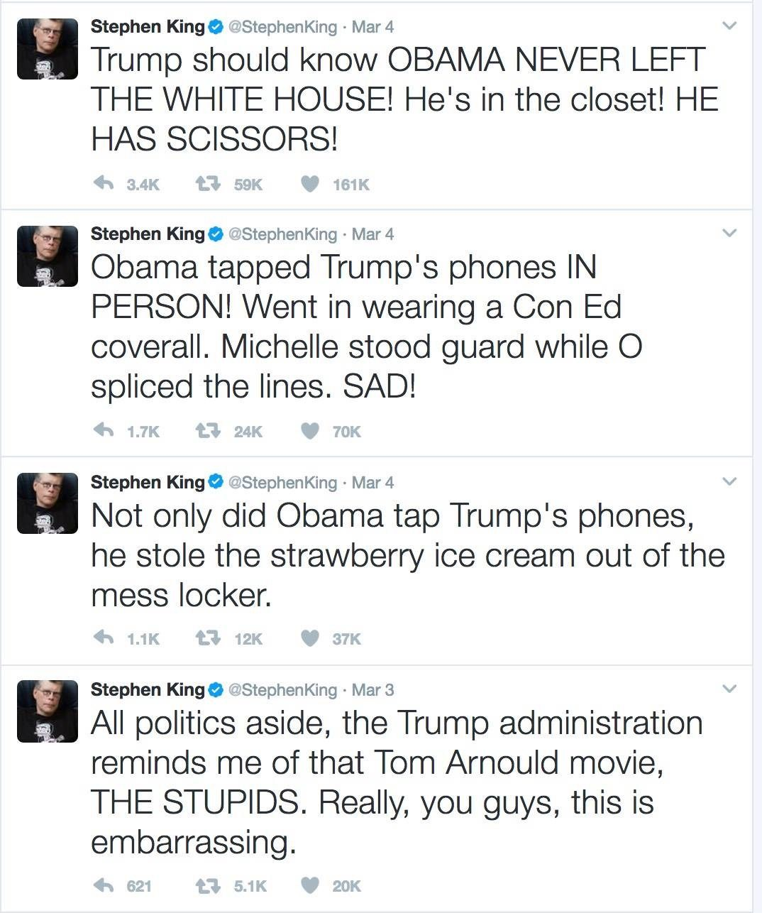 Image Stephen King tweets re Trump Obama wire tap claims MAR4